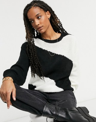AX Paris panelled colour-block jumper in black and white