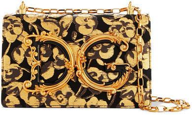 Dolce & Gabbana Embellished Floral-jacquard And Ayers Shoulder Bag - Gold
