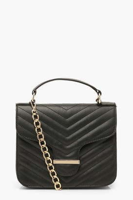 boohoo Quilted Bar Detail Cross Body Bag