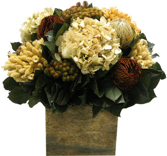Bougainvillea Banksia, Brunia, Pharalis, & Hydrangea In Wooden Cube Container