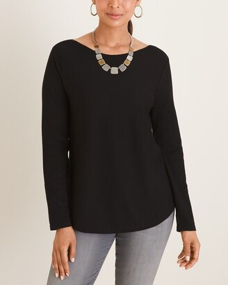 Chico's Bateau-Neck Shirttail-Hem Pullover Sweater