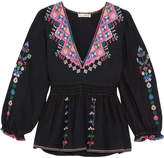 Ulla Johnson Maja Embroidered Silk-canvas Blouse - Black