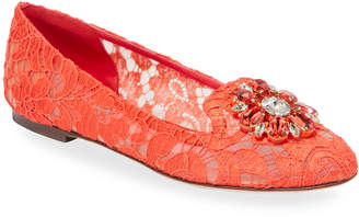 Dolce & Gabbana Jeweled Lace Ballet Flats