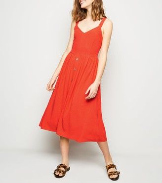 New Look Linen Look Button Front Midi Dress