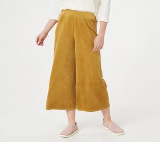 Denim & Co. Naturals Velour Wide-Leg Crop Pants