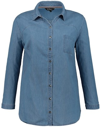 Ulla Popken Denim Shirt with Long Sleeves and Pocket
