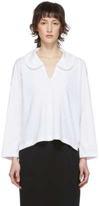 Comme des Garcons White Peter Pan Collar Long Sleeve T-Shirt
