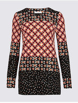 Classic Border Print Round Neck Long Sleeve Tunic