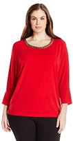 Calvin Klein Women's Plus-Size Dolman Top with Braid Chain