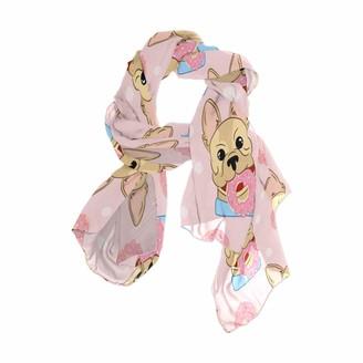 Use7 Fashion Lightweight Cartoon French Bulldog Donuts Chiffon Silk Long Scarf Shawl Wrap