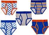 Trimfit Big Boys' 100 Percent Cotton Tagless Assorted Briefs 5-Pack (Football Star: Navy/Orange/Yellow /White, S)
