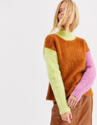 ASOS contrast color block wool blend sweater