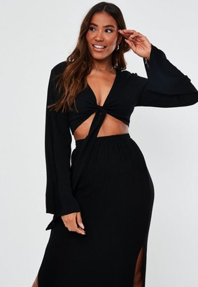 Missguided Tall Black Crinkle Tie Front Crop Top