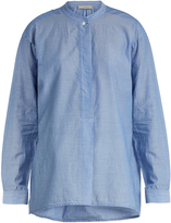 Vince Stand-collar pinstriped cotton-oxford shirt