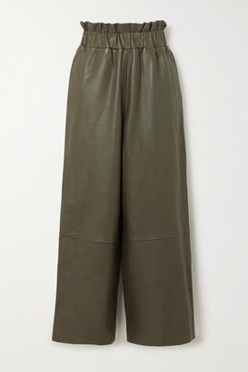 Ganni Leather Wide-leg Pants - Army green