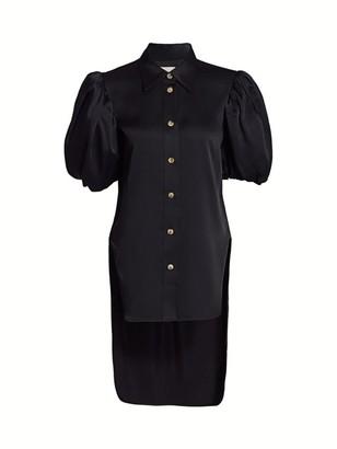 KHAITE Roberta Puff-Sleeve High-Low Satin Top