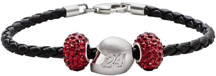 Insignia Collection NASCAR Jeff Gordon Leather Bracelet & Sterling Silver Helmet Bead Set