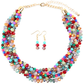 Riah Fashion Women's Earrings MULTICOLOR - Blue & Red Crystal & Goldtone Twist Beaded Statement Necklace Set