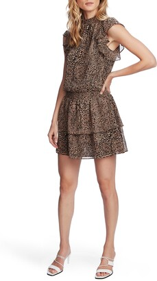 1 STATE Leopard Print Smocked Flutter Sleeve Dress