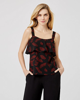 Le Château Abstract Print Textured Knit Ruffle Tank Top