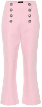 Balmain High-rise crepe cropped pants