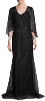 Monique Lhuillier Beaded Dolman-Sleeve Wrap Gown, Black/Gold