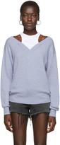 Alexander Wang Blue Cropped Bi-Layer V-Neck Sweater