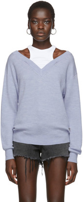 Alexander Wang Blue Cropped Bi-Layer V-Neck Sweater