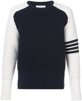 Thom Browne Raglan Crewneck Pullover With Ottoman Stitch In Navy Cashmere