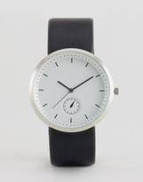Asos Sleek Watch In Silver With Black Strap