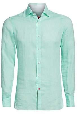 Isaia Men's Solid Linen Button-Down Shirt