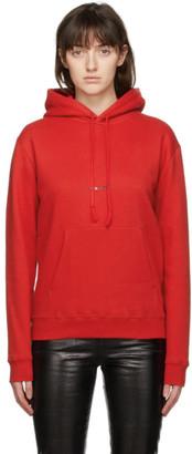 Saint Laurent Red Rive Gauche Logo Hoodie