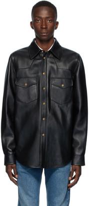 Gucci Black Leather Logo Shirt Jacket