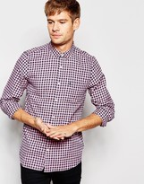 Jack Wills Shirt In Gingham Pink And Navy Check In Classic Regular Fit