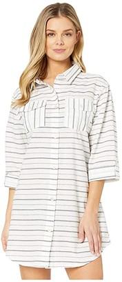 Dotti Radiance Stripe Shirtdress Cover-Up (Navy) Women's Swimwear