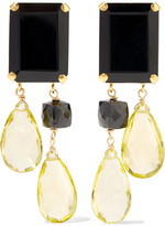 Bounkit Gold-tone, quartz and onyx earrings