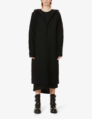 Y's Hooded cable-knit cotton and wool-blend coat