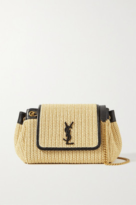 Saint Laurent Nolita Small Leather-trimmed Raffia Shoulder Bag - Cream