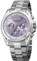 Akribos XXIV Women's Multi-Function Stainless Steel Case on Stainless Steel Bracelet and Purple Dial with Silver Tone Hands Watch AK951SSPU