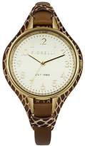 Fiorelli Women's Quartz Watch with White Dial Analogue Display and Brown Leather Strap FO006TG