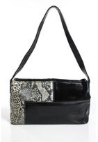 Brahmin Black Brown Leather Embossed Print Textured Zipper Shoulder Handbag