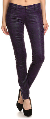 Couture Miss Kitty Women's Denim Pants and Jeans PURPLE - Purple Metallic Skinny Pants - Juniors