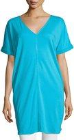 Joan Vass Long Cotton Interlock Tunic, Turquoise, Petite