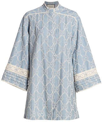 Gucci Washed Embroidered Chambray Long-Sleeve Dress