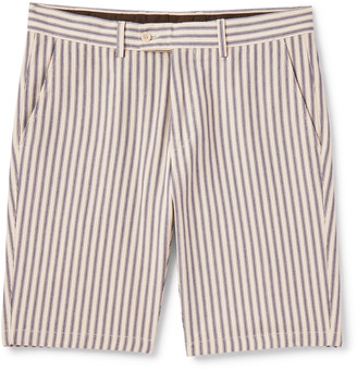 Aspesi Slim-Fit Striped Cotton-Twill Bermuda Shorts