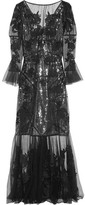 Erdem Leanne Embroidered Silk-organza And Swiss-dot Tulle Gown - Black