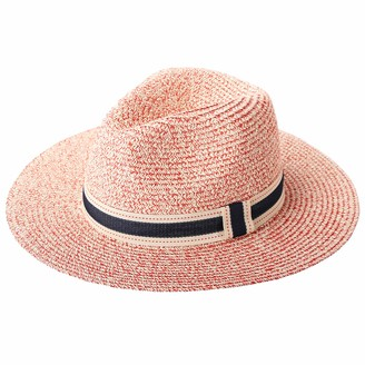 RIONA Women Wide Brim Straw Panama Roll up Hat Fedora Beach Floppy Sun Hat Summer UPF50+(Navy) 54-57.5cm