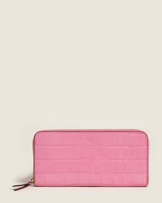 Mulberry Raspberry Pink Croc-Embossed Zip-Around Wallet