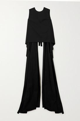 Dries Van Noten Cape-effect Open-back Cotton-poplin Top - Black