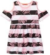 Funkyberry Cold Shoulder Leaf Print Dress (Toddler & Little Girls)